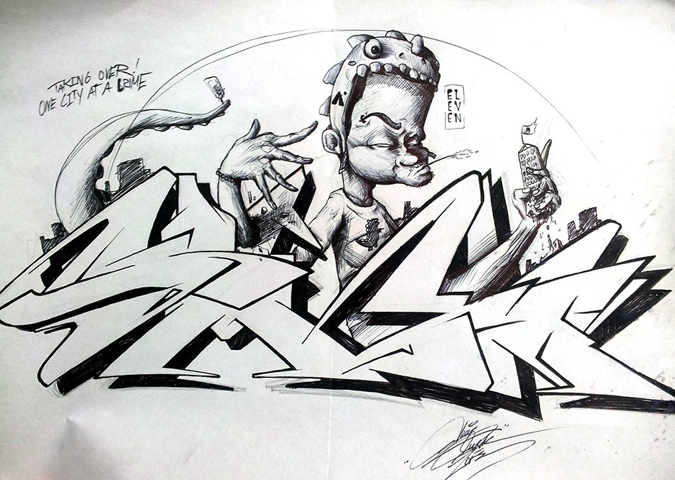 DawgzillaA sketch exchange between me and my amigo, SMICK.