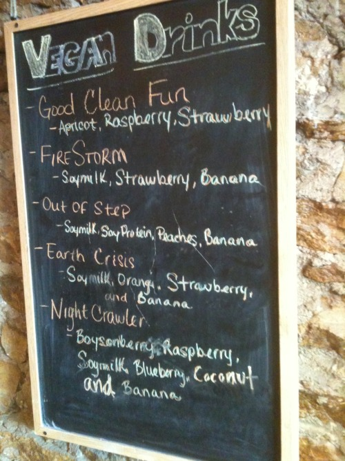Vegan smoothie menu at Juice Stop in Lawrence, KS.