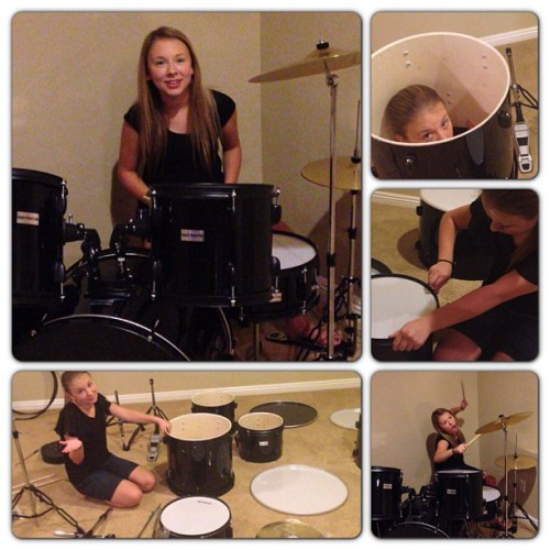 Little drummer girl :) helped my bro put it together this week