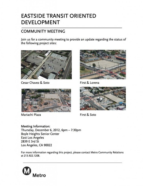 Big meeting on redevelopment on Metro owned properties tonight in Boyle Heights