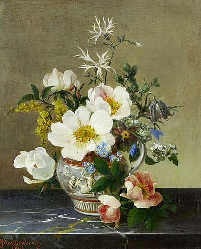 stilllifequickheart:  Adolf Blankenburg Flowers on a Marble Ledge 1866