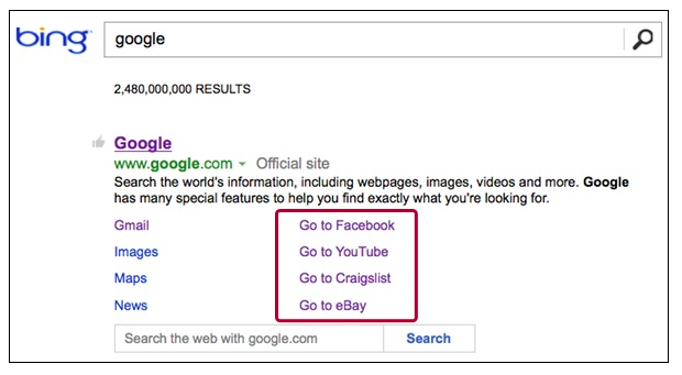 Strange Bug In Bing Deep Links Shows Facebook, Craigslist As Part Of Google  Google has deep pockets and probably would be happy if Facebook, eBay and Craigslist were part of its empire … but last we checked, they're all separate companies. Nonetheless, links to those three sites are showing as Deep Links on Bing under the Google.com result when you search for [google].