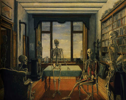 nevver:  Skeletons in an office, Paul Delvaux