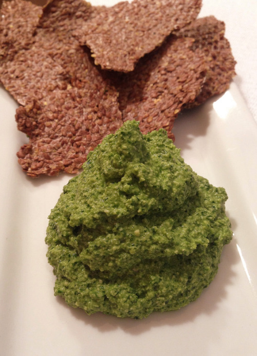 (Click here for recipe Flax Crackers and Spinach Dip)
