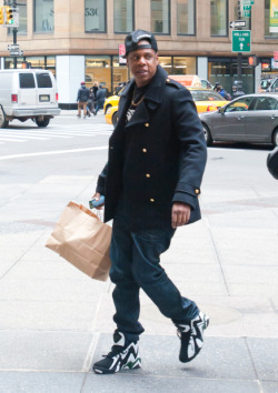 Jay-Z strolled through New York City on his way to a meeting on Friday afternoon.