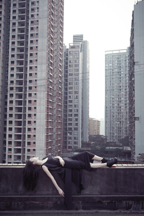 jeou:  Hanging out in Chongqing City, model Lucy for China's LIFE magazine, April 2012