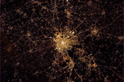Chris Hadfield: Brussels seen from the ISS.