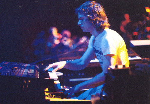 Tony Banks, Duke Tour rehearsals.  One of the last times he used the Hammond T-102 Organ live.  Digging this whole keyboard rig here.
