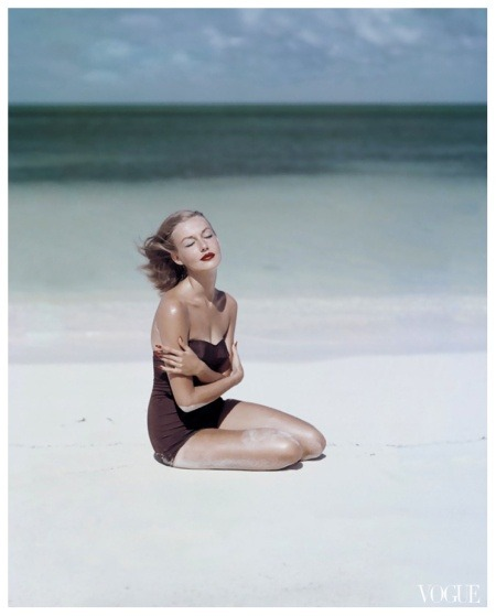 Vintage Tuesday: John Rawlings Photographer  Liz Benn models a strapless swimsuit by Givenchy for Vogue, 1953