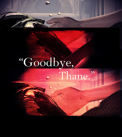 """Goodbye, Thane."" - A Thane/Shepard Fanmix {listen}  1. Reflections // Jack Wall, Sam Hulick, David Kates & Jimmy Hinson 2. We Found Love (Instrumental Version) // awwwyeeee  3. Sleep Tonight // Stars  ""You will cry, I will cry, 'cause all the love's alive tonight."" 4. Departure // Baths  ""Smile for me if you can, I want to have that in my head.""  5. Tides // The XX ""You leave with the tide, and I can't stop you from leaving."" 6. Dauðalogn (Dead Calm) // Sigur Rós 7. Never Let Me Go // Florence + The Machine ""A thousand miles down to the sea bed, found the place to rest my head, never let me go."" 8. A Future That Many Will Never See // Sam Hulick"