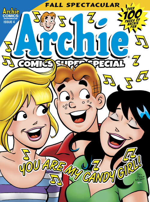 "Here's an exclusive first look at the cover for the upcoming Archie Comics Super Special issue 4 which hits stores in September. As you can see, it features a fun illustration by Dan Parent in which Archie, Betty and Veronica sing The Archies' signature tune, ""Sugar Sugar."" Great fun. Here's a rundown of what you can expect to see inside:  ARCHIE COMICS SUPER SPECIAL MAGAZINE #4 Something amazing is happening in Riverdale! The quarterly Archie Comic Super Special Magazine rolls on with this awesomely autumn-themed edition! School is back in session, the leaves are changing colors and Halloween is approaching with its promises of tricks and treats! Get ready for colors, classes and costumes galore from the Archie vault. All this plus creator spotlights, the latest Archie news, a brand new multi-color foil-enhanced cover and much, much more in this jam-packed magazine! Featuring stories with Archie, Betty and Veronica, Jughead, Sabrina the Teenage Witch, Josie and the Pussycats and more!  Script: Various Art: Various Cover: Dan Parent, Bob Smith, and Tito Peña On Sale at Comic Specialty Shops: 9/11 128-page, full color comic $9.99 US.  As regular readers of this site are well aware, I'm a bit of a Archie fanatic. But my obvious enthusiasm aside, the simple fact is that Archie Comics is the most exciting publisher around these days due to their masterful ability to please old fans and bring in new audiences through groundbreaking characters (Kevin Keller) and exciting concepts (the ongoing Life with Archie magazine, the upcoming horror/comedy hybrid Afterlife with Archie). If you haven't checked out what's been happening in Riverdale of late, rectify that immediately. You're missing out on some of the best work being done in the comics industry today."