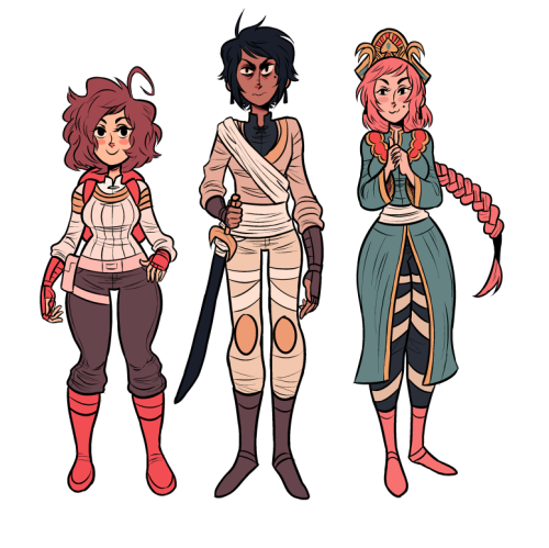 Adventure comic designs!! Sky outfit for Rosi, and unnamed bad dude and Queen Fran (the Frankie cameo of this comic!!) from the Sky Palace really happy with these designs/colors, hope you guys like em too!! also here is bonus Rosi with normal colors in alt outfit: