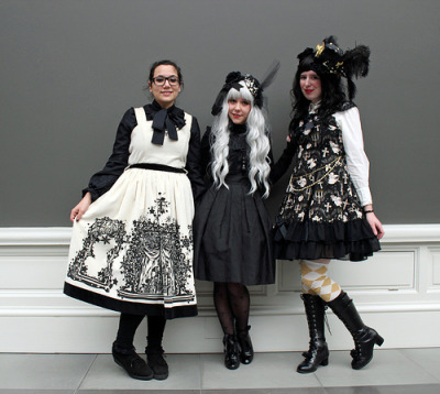 Saltje, Annso and Josine at the February Belgian Cupcakes Lolita fashion meet.  MSK Ghent - Belgium - 24.2.2013