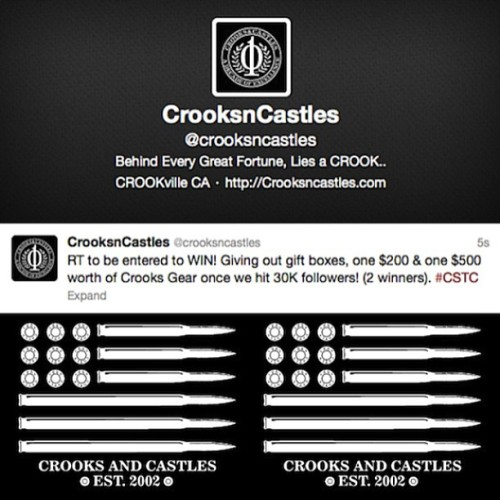 @crooksncastles: RT to be entered to WIN! Giving out gift boxes, one $200 & one $500 worth of Crooks Gear once we hit 30K followers! (2 winners). #CSTC #crooks #fwu #crooksncastles #troublemaker #crookstagram