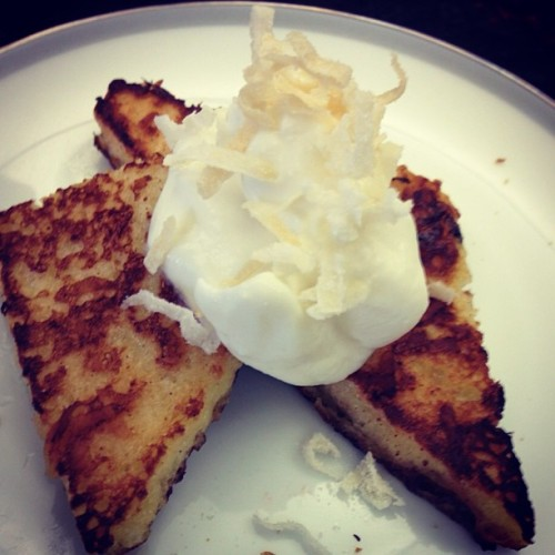 French toast tipped with heavy cream and coconut shavings #Sunday #breakfast #yum #frenchtoast #dayoff #goodmorning #foodie #foodporn #instagood #iphotography (at Hacienda X)