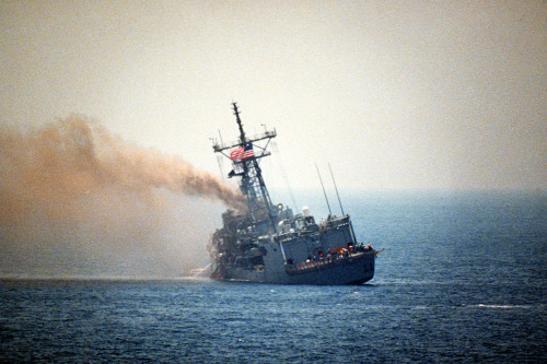 navyhistory:  On 17 May 1987,  U.S. Navy guided missile frigate USS Stark (FFG 31) was struck by an Iraqi Exocet missile in the Persian Gulf, killing 37 sailors and wounding many others. U.S. Navy photo DN-SC-87-06412.