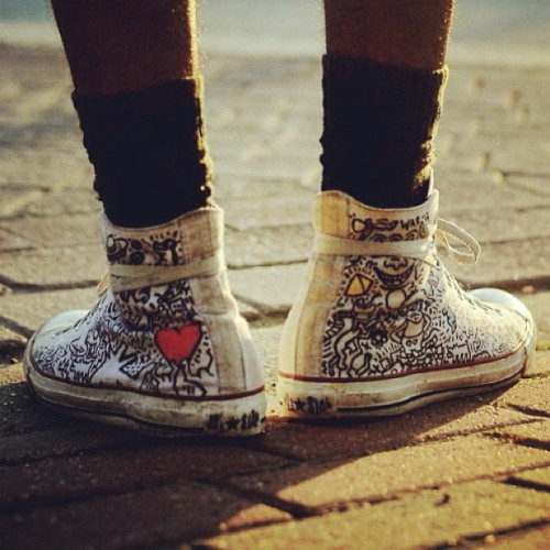My favorite shoes. Need to make some more. Photo by @lewnyc #keithharing #haring #converse #customs #kotd #huf