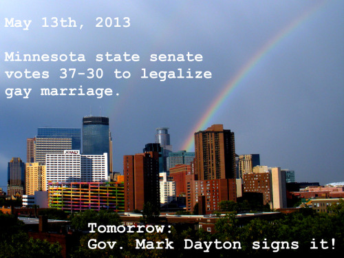 finding-joy:  wr3n:  Thank you, Minnesota state senate!  And tomorrow there's a huge party planned at Ecolab Plaza downtown St. Paul!! And it's going to be 90 degrees!