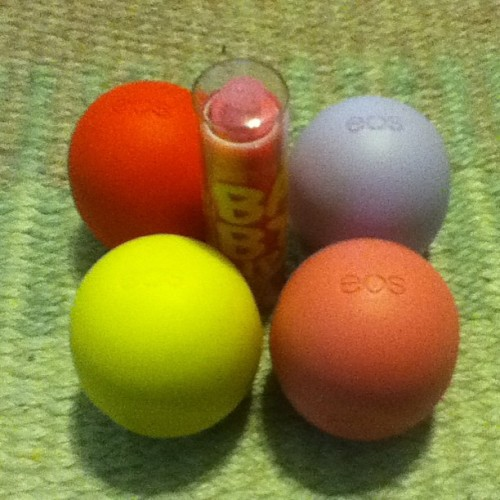 Two new eos!(: #StrawberrySorbet #PassionFruit #eos #babylips #pinkpunch #lemondrop #summerfruit #love