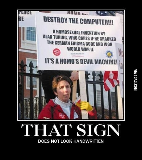 9gag:  Computer = homo's devil machine