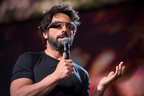 """I feel like it's kind of emasculating."" -Google co-founder Sergey Brin on smartphones. Brin was promoting Google Glasses as the better (and more masculine) choice.  photo by James Duncan Davidson."