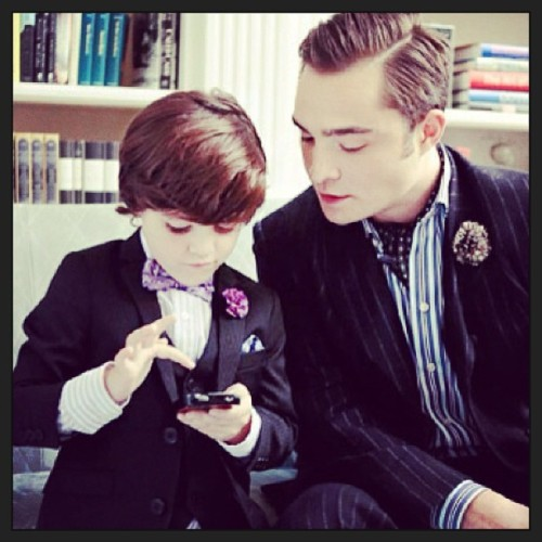 Father/Son Sartorial Excellence. #gossipgirl #chuckbass #edwestwick #littleboy #boy #fashion #style #menswear #adorable #cute #dapper
