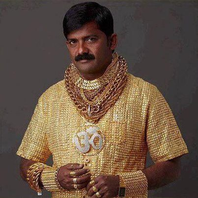 swagger undeniable.  egotripland:  Meet Indian business man Datta Phuge, the man with the shirt made of gold. Lots of gold. VIDEO: http://bit.ly/XfCOeA