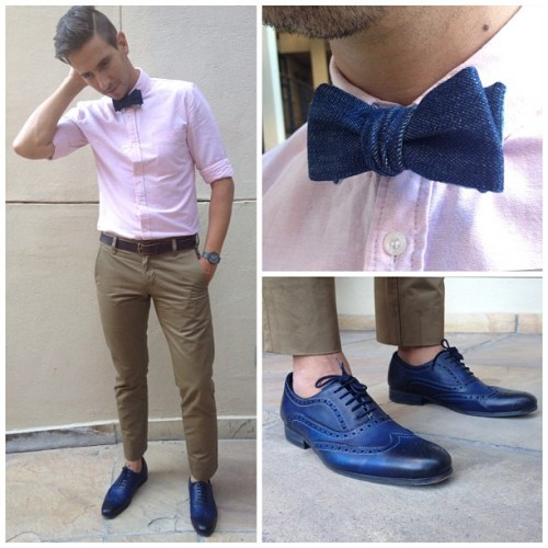 Pink brown and blue  Denim Bowtie by @heywood1922   #mensfashion #menswear #menstyle #ootd #wmbw