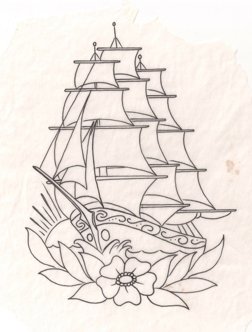 primitiveontario:  ship tattoo flash