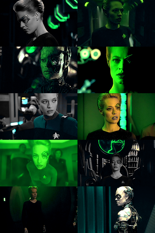 anneboleyns:  Seven of Nine caps meme | 2/2 colors: green  OTAKUism: Former Borg drone Seven of Nine (nee Annika Hansen / actress Jeri Ryan) of Star Trek: Voyager