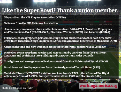 workingamerica:  Here are some of the unions you can thank for Sunday's big game.