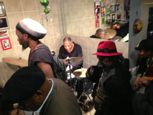 Drummer Billy Hart joined the jam at tiny 449 LA SCAT during the memorial fundraiser for pianist Rahn Burton in Harlem last night.