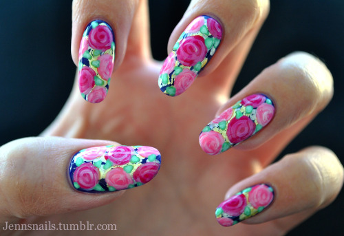 jennsnails:  I never thought I would be so into floral nails, but I may never take these off.  I tried roses for the first time this weekend for my sweet mom's mother's day nails and was surprised at how easy they were.  I didn't want to just do plain roses so I decided to do them over some silver/gold foil. It is safe to say I am in love. Instagram