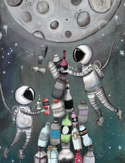sarahscribblesillustration:  I'm not sure about this…astronauts are a pain to draw..