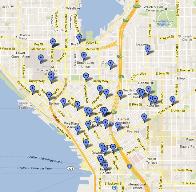 Totally mapping out pizza places in Seattle. Strategic food planning.