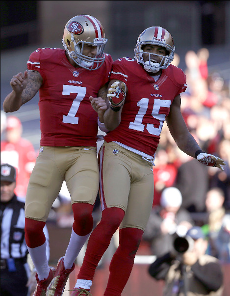 Coling Kaepernick and Michael Crabtree have career-high performances. Kaepernick finishes with 276 yd and 2 TDs and Crabtree finished with 172 yd and 2 TDs.