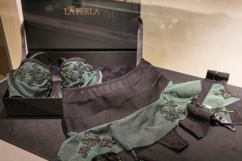"""Zagara Flowers""  Ginza Limited Edition   The La Perla Lingerie S/S collection is inspired by one of the greatest nineteenth century Italian novels: ""The Leopard"" by Giuseppe Tomasi di Lampedusa. The female protagonist of the book is a charming Sicilian girl with beautiful green eyes. In homage to her beauty, this limited edition collection, exclusively created for the Japanese market, has been designed in a precious tone of emerald green."