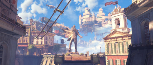 "1updotcom:  ""The core of every BioShock game is a strict ideology taken to an extreme, and the unintended consequences of that. I think if we're making any statement, it's that rigid belief in ideology does not lead to anywhere good, ever. Like Andrew Ryan in BioShock, strict belief in this Objectivism, and the same thing with Fontaine and Atlas in reverse, where you see… at either extreme, it leads to ruin."" — BioShock Infinite writer Drew Holmes on Columbia's pervasive religion, a strange mash-up of Mormonism and American jingoism."