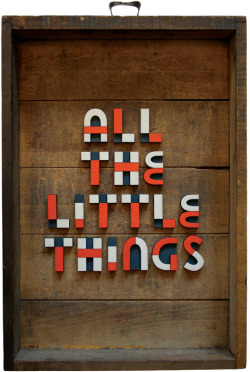 "rememberlastnight:  ALL THE LITTLE THINGSAcrylic on wood in found box13.375"" x 9.25"" x 2.25"