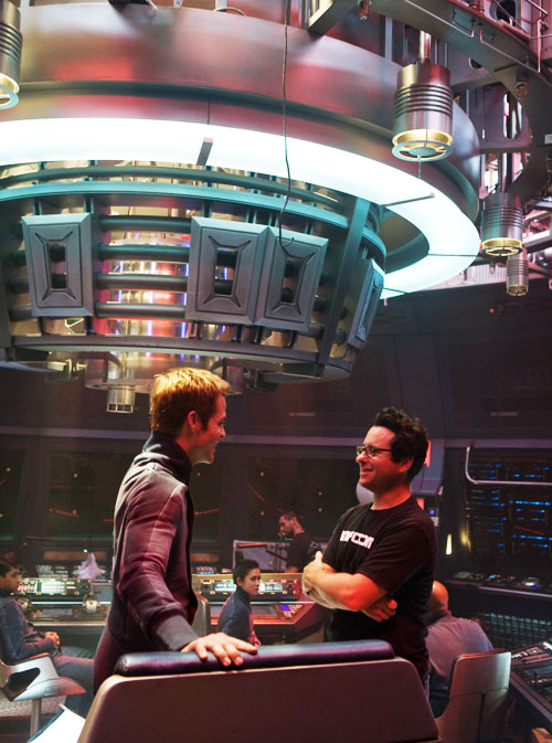 cinecat:  Chris Pine and J.J. Abrams on the set of Star Trek (2009)