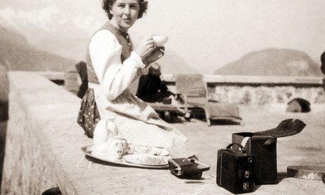 guardian:    The Hitler home movies: how Eva Braun documented the dictator's private life Sharp focus: Eva Braun, Hitler's lover, whom he married the day before their suicide, at his fortified chalet, Berchtesgaden, in the Bavarian Alps. Photograph: Getty Images