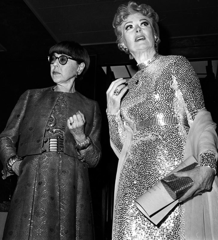 garlandesque:  Edith Head at the Costume Designers Ball with Greer Garson, 1969