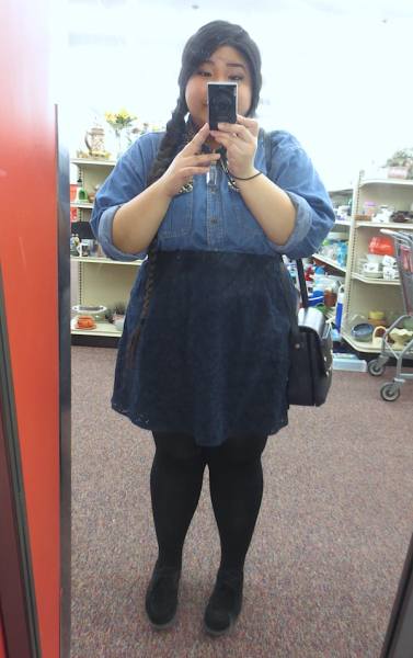 Getting My Thrift On - 2.25.13 I actually thrifted the Leopard Denim Button-Up (which I wear to death), the Webster For Target Skirt & the Belle Rose Crossbody Bag at this exact Salvation Army. :)