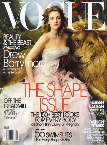 Vogue Cover of the Week: April 2005 featuring Drew Barrymore (and a lion) by Annie Leibovitz