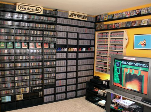 beautifullynerdy:huffingtonpost:Go ahead, drool.Sure there are bigger video game collections in the world, but Aaron Norton's setup is by far the best organized and prettiest.I must clean my pamties because I nerdgasmed way too hard…