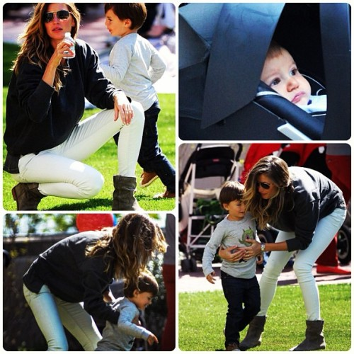 .@giseleofficial with #benjaminbrady and #vivianbrady at a #park in #nyc #giselebundchen #tombrady #vivianlake #celebritybabies