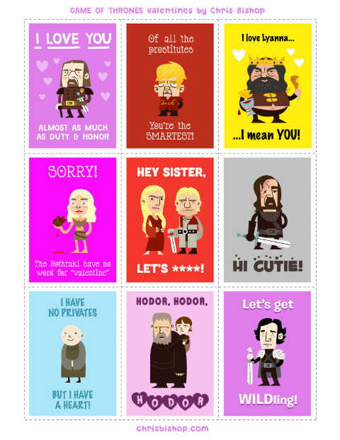 Game of Thrones Valentine Cards. Art by Chris Bishop.