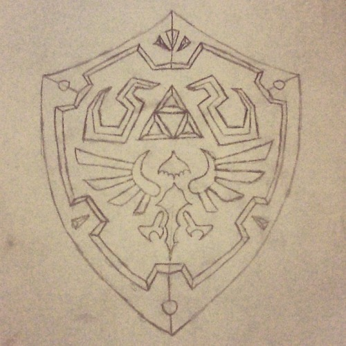 My attempt at sketching the Hylian Shield