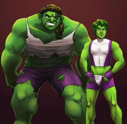 I present: gender-bent Hulk & She Hulk (This was supposed to be a doodle but somehow it turned into a coloring practice thing.) (I'm still not very good at coloring)