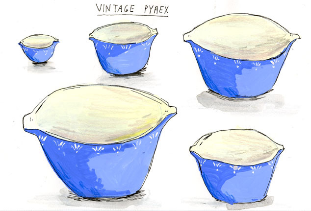 Original drawing of vintage pyrex bowls for sale.